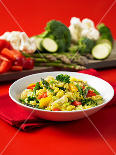 Vegetable Paella with asparagus
