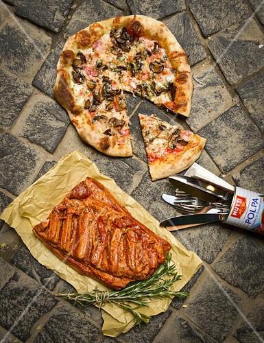 Mushroom pizza and ham pizza