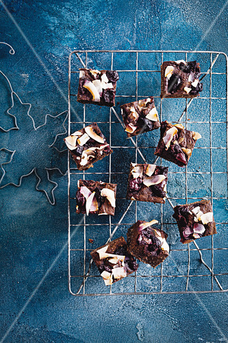 Brownies with cherries and coconut