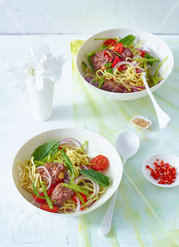 Noodle salad with minced beef and ginger (Asia)