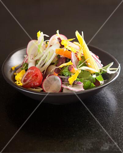 Indian vegetable salad with coriander
