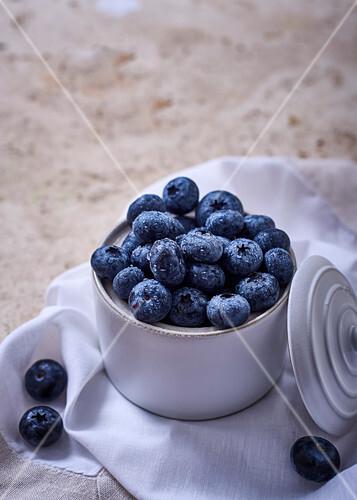 Blueberries in a sugar pot