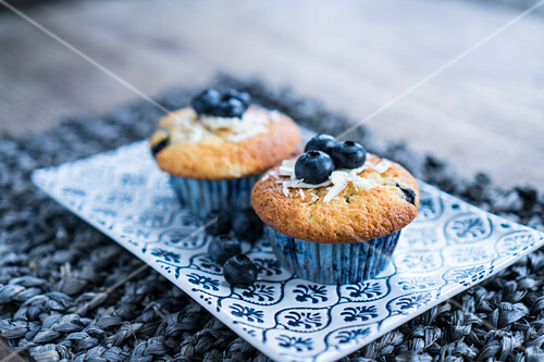 Blueberry muffins on a serving platter