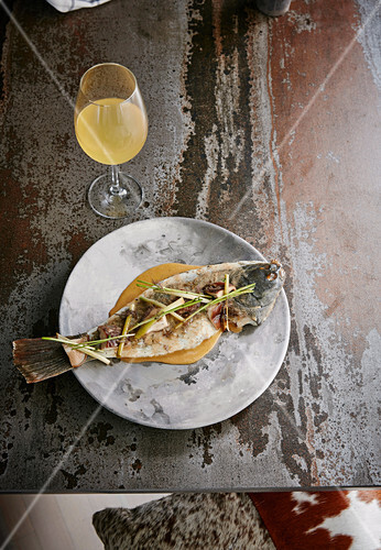 Salt-and-pepper New Zealand flounder, grilled leek and fermented shiitake and brown butter emulsion