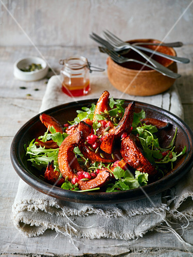Warm Salad of roasted pumpkin wedges