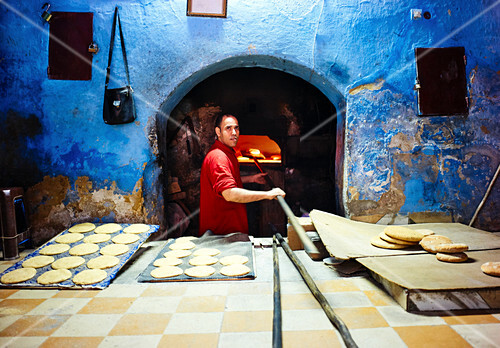 Traditional unleavened bread baked in the medina of Fez, Morocco