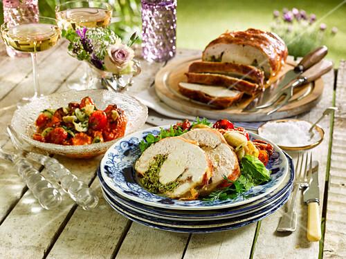 Stuffed chicken with a roast tomato salad