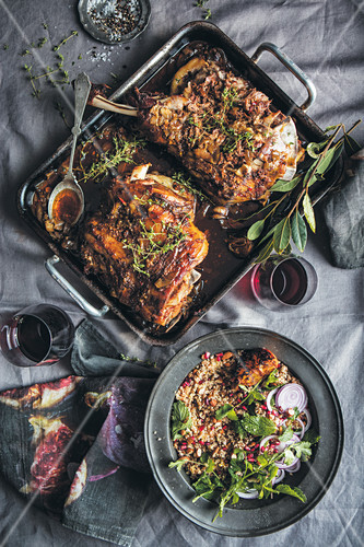Braised lamb shoulder with barley and couscous salad