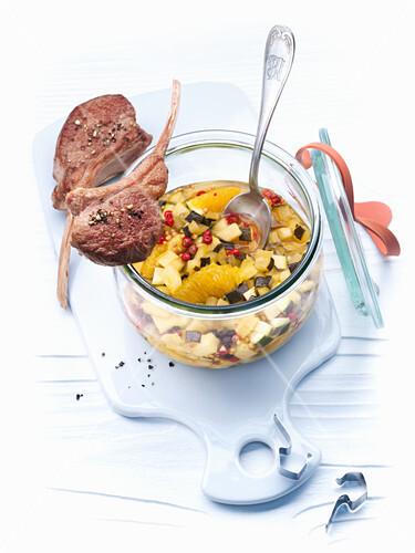Zucchini and orange chutney with lamb chops
