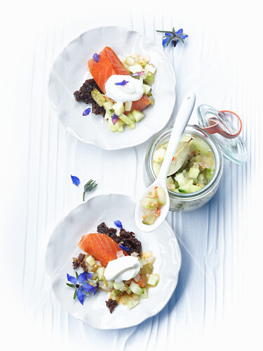 Hot smoked salmon with cucumber relish