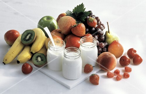 Three Jars of Plain Yogurt; Assorted Fruit