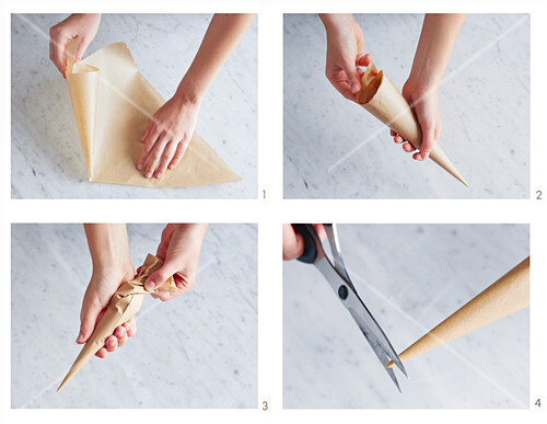 A piping bag being made