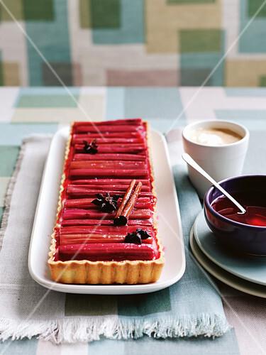 Roasted rhubarb and custard tart