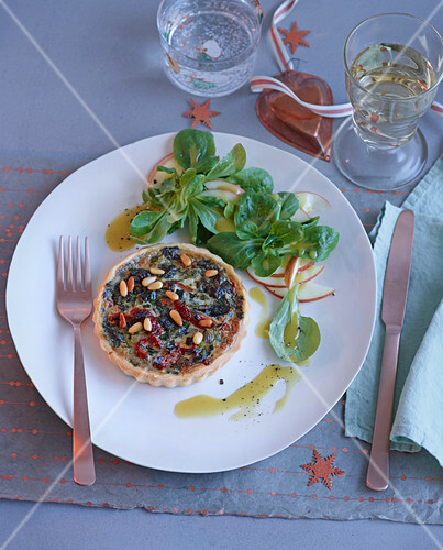 Chestnut and chard tart with lambs lettuce for Christmas