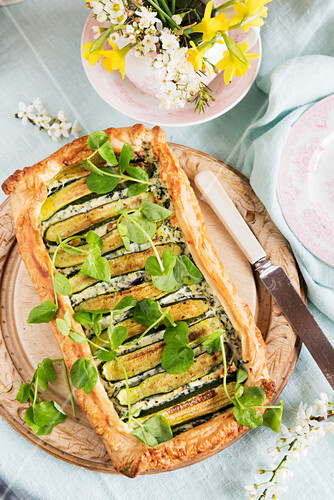 Spring shortbread tart with zucchini, ricotta and watercress