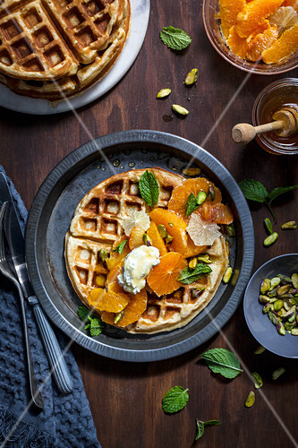 Waffles with Citrus, Honey Labne and Pistachios