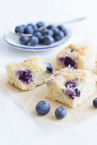 Blueberry buttermilk tray bake cake with coconut