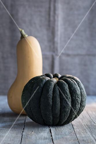 A dark green pumpkin and a butternut squash