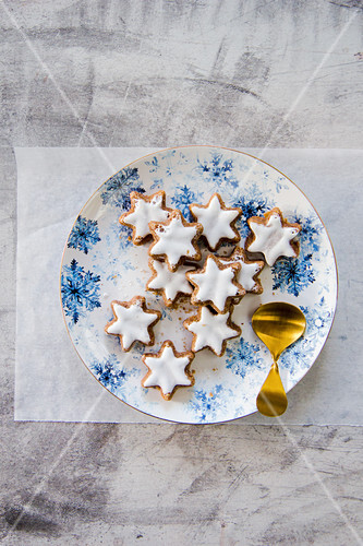 Cinnamon stars on a Christmas plate