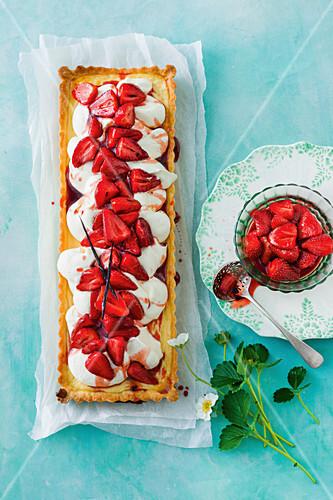 Orange ricotta tart with vanilla-roasted strawberries