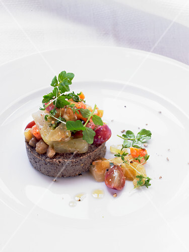 Lentil pate with celery, watercress, grapes and almond paste