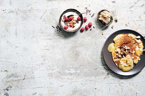 Vanilla quark with chocolate, almond and banana ice cream and quark omelette
