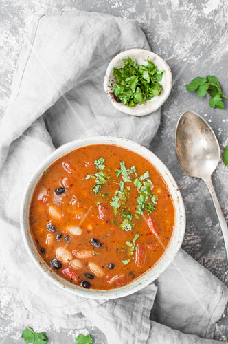 Mexican style vegan beans soup. Made with jalapeno, chipotle, black and white beans and toamtoes