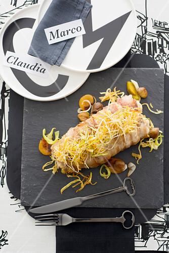 Roast Monkfish with Backfat Bacon Leeks and Apricots