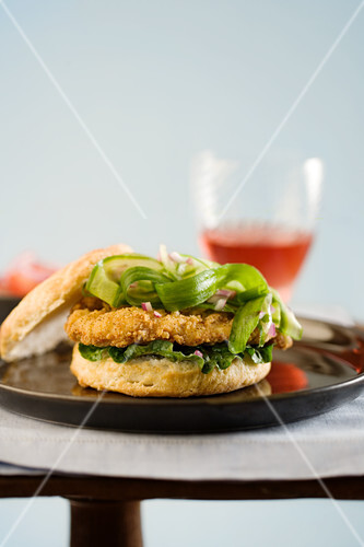 Chicken Biscuit Sandwich with Cucumber Lettuce and Onion