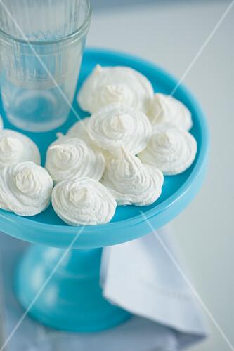 Meringue Cookies on Blue Cakestand