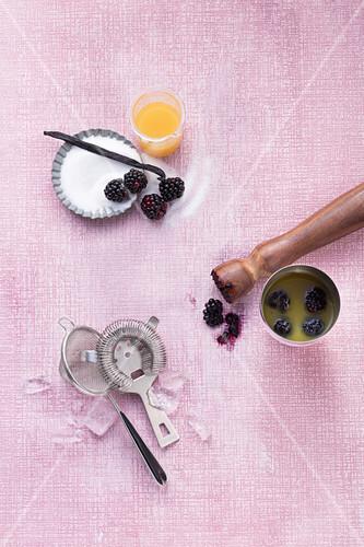 Ingredients for a Dark Invader with vanilla