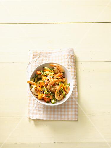 Oriental salad with prawns (no carb)