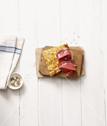 Celeriac tortilla with Serano ham (no carb)