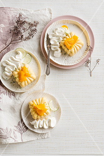 Peach and lime bavarian cream with whipped cream