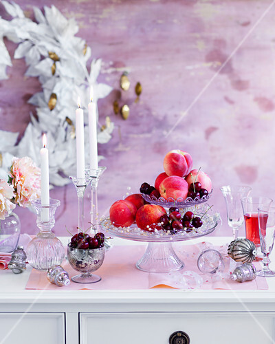 Peach and cherry decoration