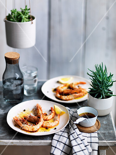 Barbecued prawns with brown butter and tamari