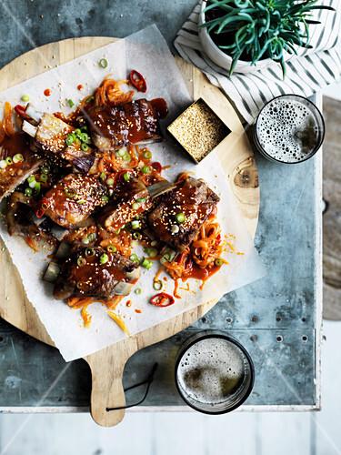 Lamb ribs with yuzu sesame yakinku sauce
