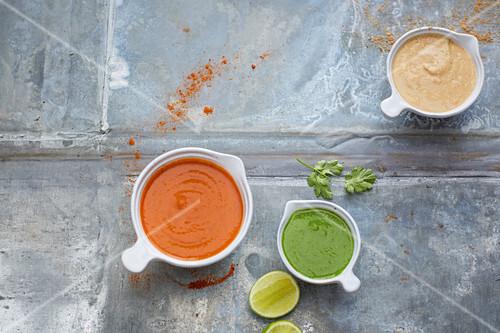 Vegan marinades made from chipotle, tandoori and coriander