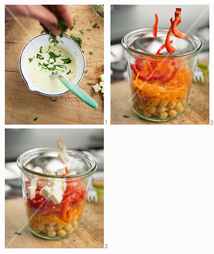 How to make a rainbow salad with feta in a glass