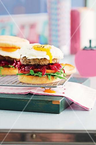 Australian style hamburgers with fried eggs