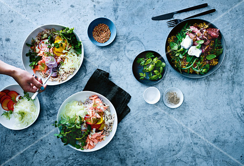 Plum and smoked trout Scandi bowl and Rare beef and cool greens freekeh bowl