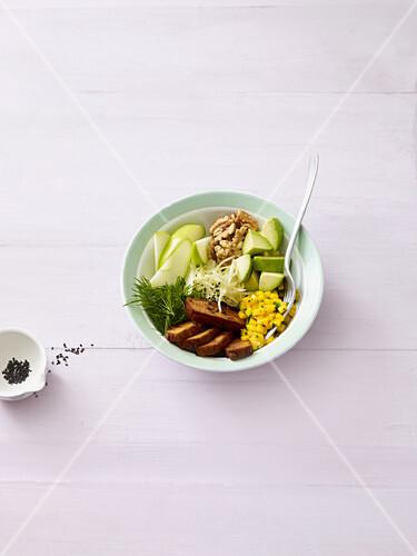 Fresh fusion bowl with smoked tofu