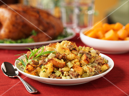 A side dish of chicken stuffing for Thanksgiving (USA)