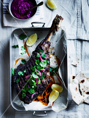 Shawarma spiced roast lamb leg with beetroot sauce