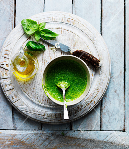 Basil pesto with garlic and olive oil