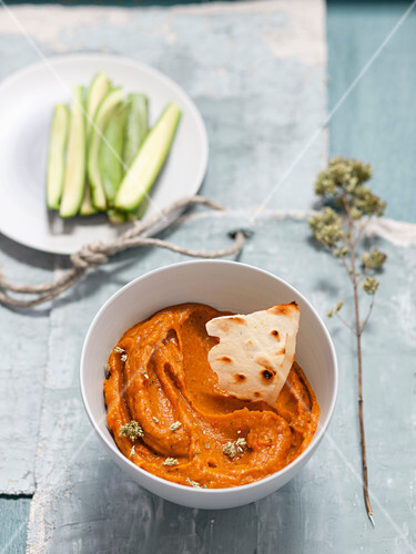 A dip made from roasted tomatoes and pumpkin with thyme and oregano