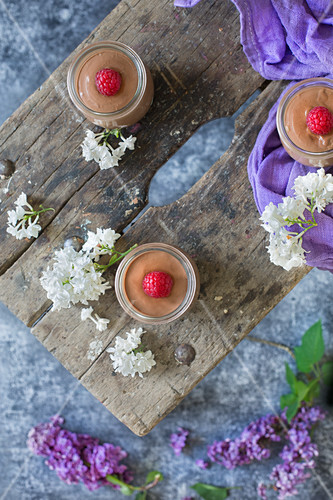 Chocolate quark with raspberries in glasses