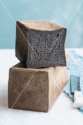 A loaf of bread dyed with squid ink
