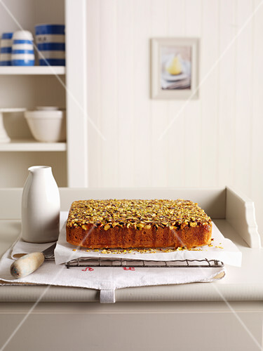Pistachio Buttercake with Orange Honey Syrup