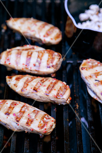 Grilled chicken breasts with peanut cream and popcorn coating